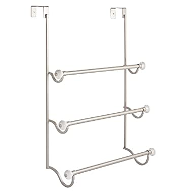 InterDesign York Over the Shower Door Towel Rack for Bathroom - Satin/White
