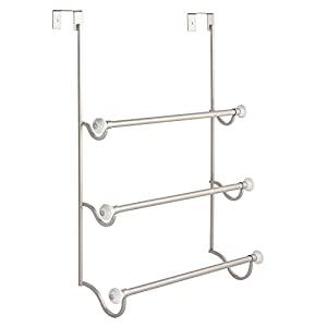 InterDesign York - Over-The-Shower-Door 3-Bar Towel Rack - Satin/White - 4.75 x 17.75 x 22.5 inches