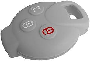 Nicky Gris Funda de Silicona para Mercedes Benz Smart 3 Botones Llave Cubierta de Control Remoto Automático