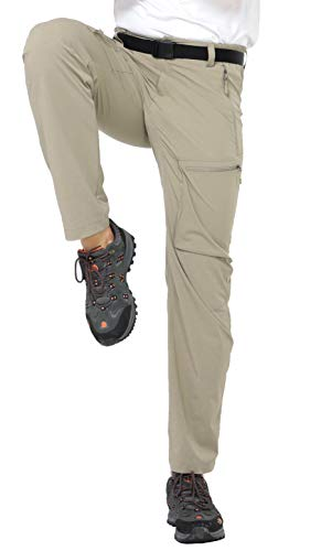 MIER Men's Stretch Cargo Pants Lightweight Nylon Hiking Pants, Quick Dry and Water Resistant, 5 Zipper Pockets, Rock Grey, L