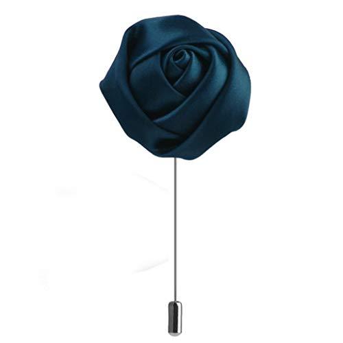 Handmade Mens Rose Flower Lapel Stick Brooch Pin Wedding Boutonniere Corsage (Color - Dark Green)