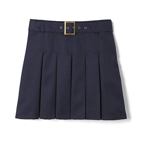 French Toast  Girls' Pleated Scooter with Square Buckle Belt, Navy, 7,Big Girls
