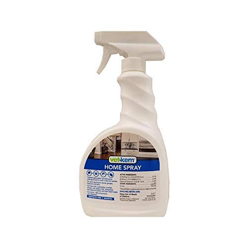 Vet-Kem Home Spray, 24 Ounces, Kills Ticks, roaches, Silverfish, earwigs and Ants. It Also Kills Fleas in Adult, Egg and Larvae Stages. Stops flea Eggs from Developing into Adults for Seven Months.