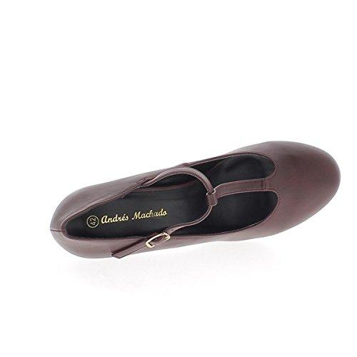 ChaussMoi Escarpins Grande Taille Bordeaux à Talon DE 12,5 CM et Plateforme Aspect Cuir Bride en Y
