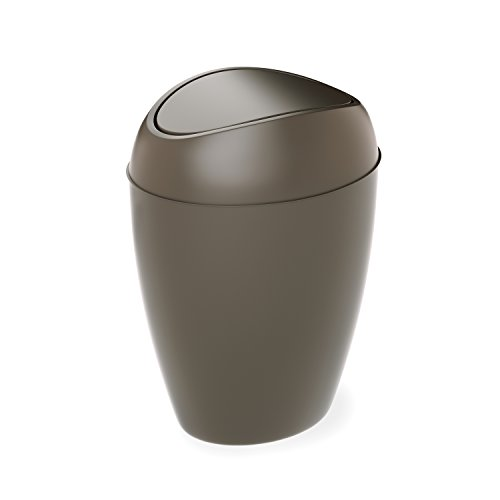 Umbra Twirla Trash Can with Swing-top Lid, 2.2 Gallon, Shadow Gray
