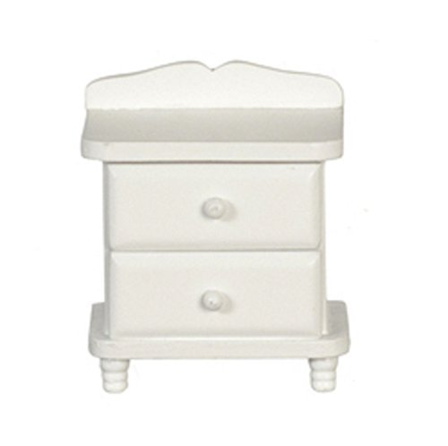 - Melody Jane Dollhouse White Wood Bedside Chest Nightstand Miniature Bedroom Furniture