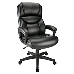 Bonded Leather Chair - Realspace(R) Fennington High-Back Bonded Leather Chair, Black/Black