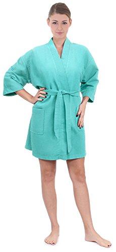 Women's Knee Length Waffle Weave Kimono Bathrobe (One Size, Light Turquoise)