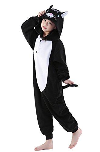 [Halloween Unisex Kids Pajamas One Piece Cosplay Sleepwear Costume (S, Black Cat)] (Boy Cat Halloween Costume)