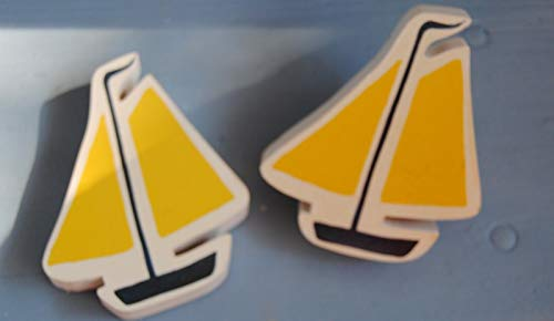 Cabinet Knobs & Pulls Two Large Wood Yellow & Blue Sailboat Drawer Knob Cabinet Pull Kids Craft Sign ()