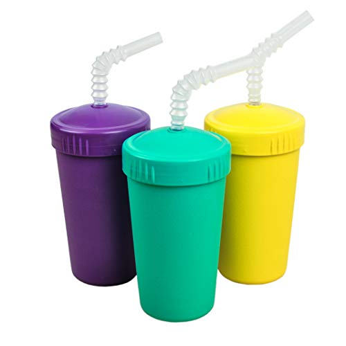 Re-Play Made in USA 3pk Straw Cups with Reversable Straw for Easy Baby, Toddler, Child Feeding - Amethyst,Yellow, Aqua (Pop)