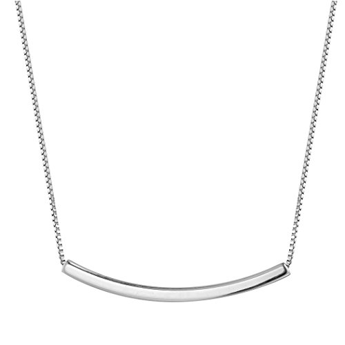 - Qiandi 925 Sterling Silver Abstract Sideways Curved Tube Bar Square Pendant Choker Necklace Women Men