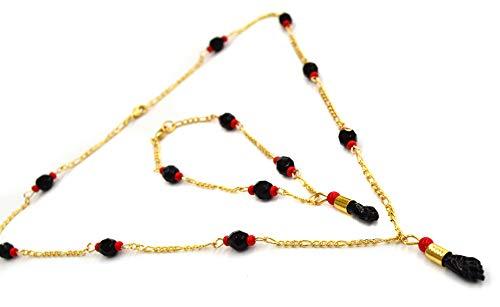 (1-6256-e1) Gold Overlay Figa Fist (Manito Azabache) Necklace and Bracelet Set, 20