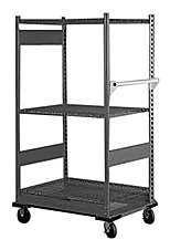 "Equipto 4584D V-Grip 3-Shelf Wire Shelving Cart with Heavy Duty Casters, 18 Gauge Steel, 800 lbs Capacity, 48"" W x 54"" H x 18"" D, Smooth Office Gray"