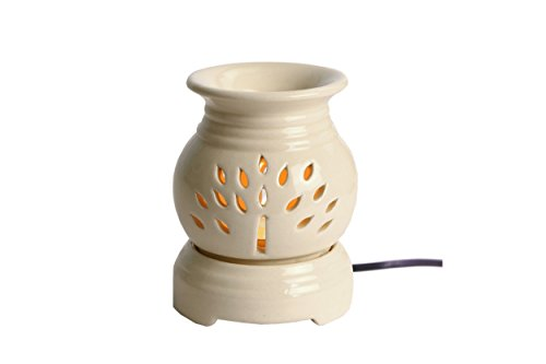 Hosley Electric Ceramic Fragrance Warmer (11 cm x 11 cm x 13.97 cm, Off-White)