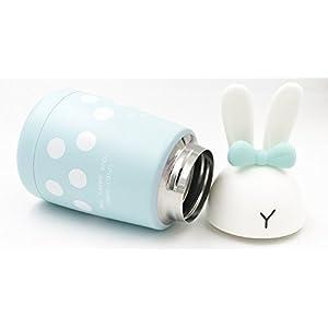 Stainless Steel Vacuum Water Bottle,Cute Rabbit Cartoon Coffee Mug,Leak-Proof Mini Insulated Flask,Portable Travel Mug,300ml/10.5oz (Teal)