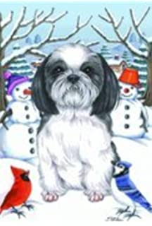 Shih Tzu Black/White   By Tomoyo Pitcher, Winter Themed Dog Breed Flags 12