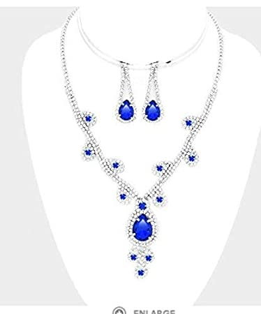 604f3d6d50527 Amazon.com: Royal Blue Crystal Rhinestone Formal Necklace Jewelry ...