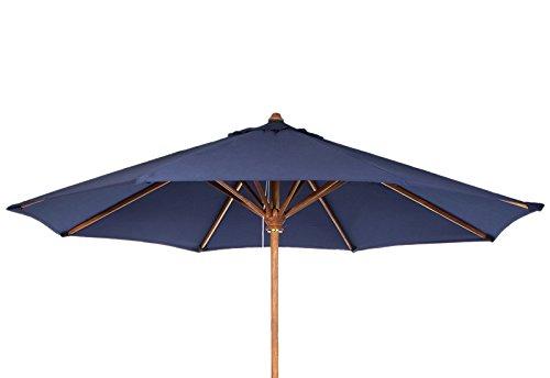 All Things Cedar Teak Market Table Umbrella, Blue Canopy