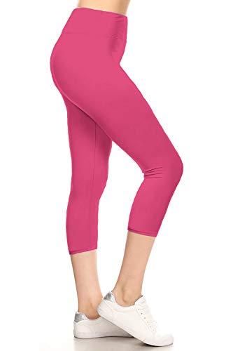 Knit Capris - LYCPX128-FUCHSIA Yoga Capri Solid Leggings, Plus Size