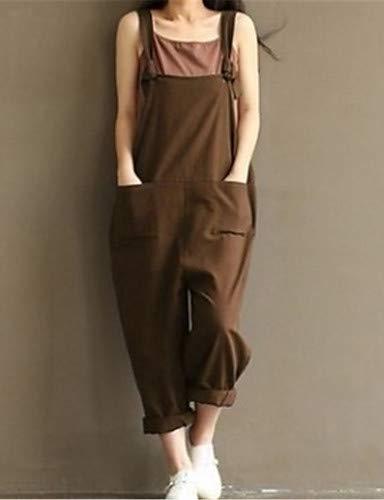 YFLTZ Pantalon Jeans en Coton pour Femme - Rv de Couleur Unie Brown