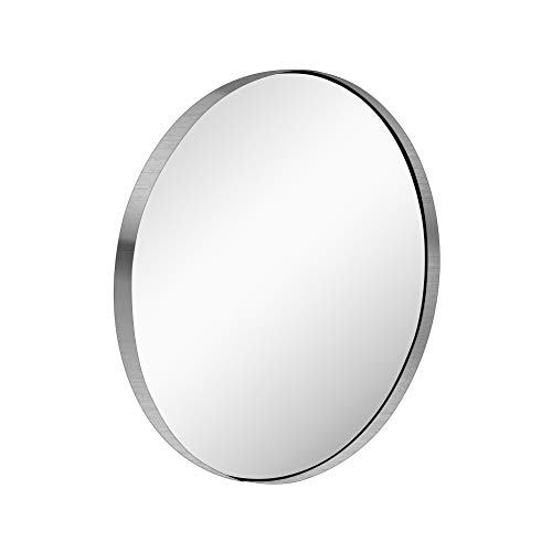 KAASUN Kassn 26-Inch Contemporary Brushed Stainless Steel Silver Wall Mounted Round Mirror, - Deep Glass Bathroom Mirrors All