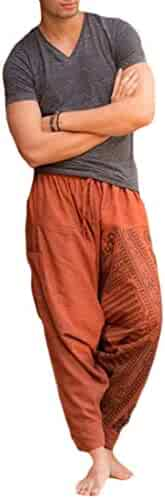 a493ce8ee85b Hajotrawa Mens Solid Color Printed Low Crotch Trousers Loose Drawstring  Pants