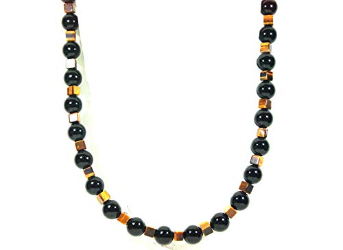 12mm Beaded Necklace - Auras by Osiris - Onyx and Tiger Eye Beaded Necklace for Men - World Class Durability & Magnetic Clasp - Aura Shielding - Confidence - Handcrafted by Master Shaman