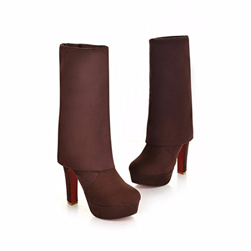 Ultra Suede Brown knee tubo cashmere botas high heels TwwnY1xdqr