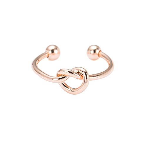 Copper Ring Promise (WeiVan Love Knot Ring Rose Gold Plated Copper Cuff Ring Bridesmaid Friendship Promise Ring)