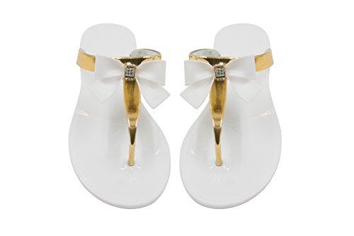 Sara Z Womens Bows and Rhinestones Patent Metallic Thong Flip Flop Size 9/10 White (Sandal Patent Thong)