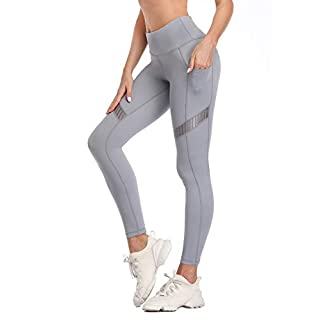 RAYPOSE Womens Yoga Running Leggings Workout Mesh Pants for Women High Waisted Sports Legging with Pockets Grey-S