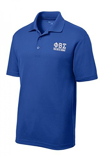 Phi Beta Sigma Fraternity Greek Letter Men's Short Sleeve Polo Shirt Large True Royal Blue - Phi Beta Sigma Merchandise