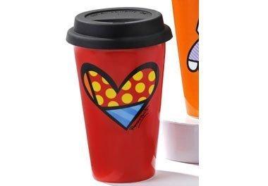 (Romero Britto Porcelain Travel Mug Heart by Romeo)