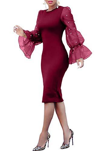 LETSVDO Women's Elegant Crewneck Ruffle Long Sleeve Bodycon Party Midi Dress Wine