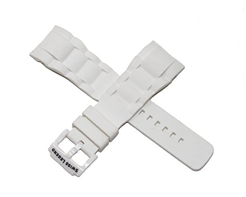 Authentic Ceramic Watch - Swiss Legend 29MM White Silicone Rubber Watch Strap w/White Ceramic Buckle fits 47mm Commander Watch