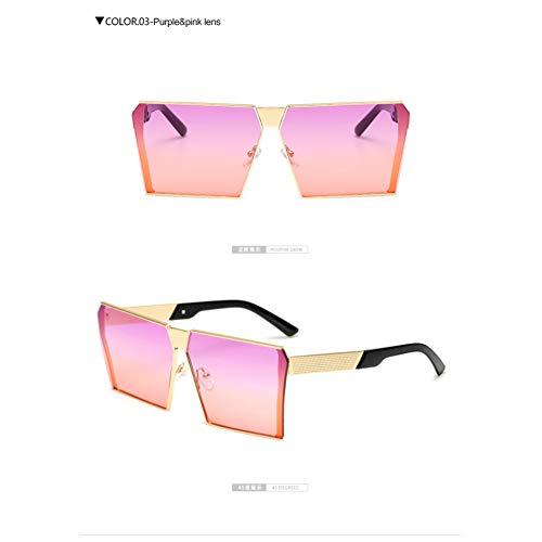 Designer De Grand Plat Surdimensionné Lunettes Femmes Pink Miroir Pour Hommes Femme Soleil Purple Monture Carré Marque Top Sans Lllm qCSg6f