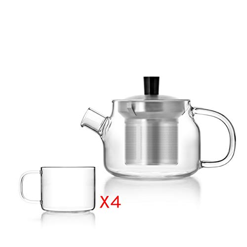 BeesClover Mini Modern Glass Teapot with Infuser & 4 Pieces Glass Cups,Tea Set for Tea & Coffee Show
