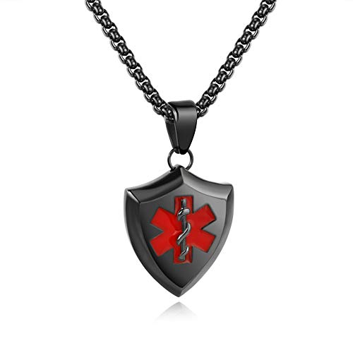 LF Free Engraving Medical Alert Necklace,Stainless Steel Name ICE Sos Personalized Customised Shield Dog Tag Medical ID Pendant Lariat Awareness Emergency Accessory for Dad,Husband,Grandpa,Son
