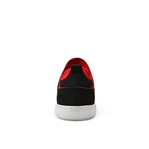 Abby Qzyyu-1712 Heren Charmante Lace Up Sneakers Ademend Mesh Platte Zool Comfortabel Wandelen Atletische Loopschoenen Lichtgewicht Sporten Inspirerende Buitenshuis Rood