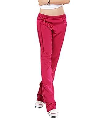 EUDORA Women's Fall Pure Casual Straight Dance Jogging Yoga Trousers Pants XXL Rose
