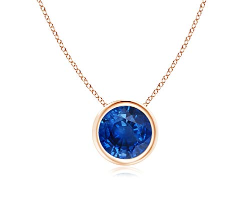 - 14k Yellow Gold 7mm Round Created Blue Sapphire Bezel Gemstone Pendant Necklace, 18
