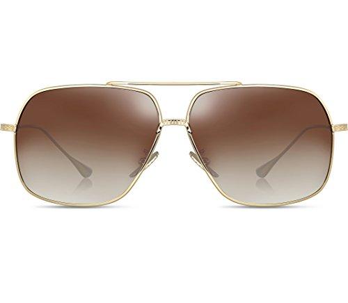 f896e6b9fd7 ATTCL Men s HD Polarized Navigator Sunglasses for Men Driving Fishing Golf  T005 Gold-Brown