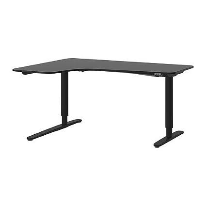 amazon com ikea corner desk left sit stand black brown black rh amazon com sit stand desk ikea review sit stand desk ikea uk