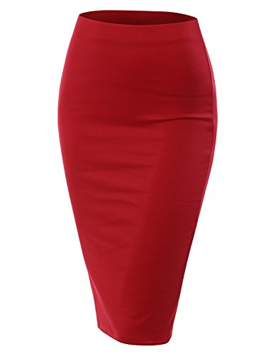 CLOVERY Women's Stretch Knit Midi Bodycon Pencil Back Slit Skirt for Work Party RED S ()