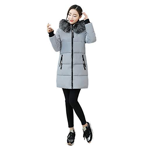 Limsea Women Jacket Coat Outwear Casual Warm Hooded Slim Fit Thick Fur Collar Zipper Medium Grey -
