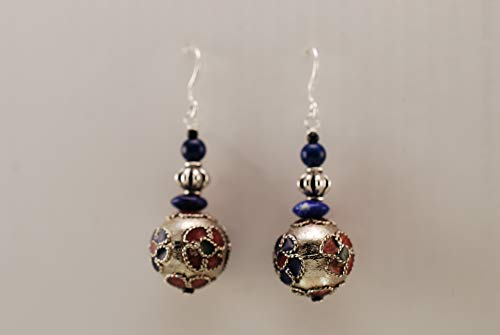 Floral Cloisonne and Lapis with Sterling - Floral Collection Cloisonne
