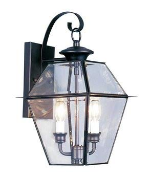- Livex Lighting 2281-04 Westover 2 Light Outdoor Black Finish Solid Brass Wall Lantern  with Clear Beveled Glass
