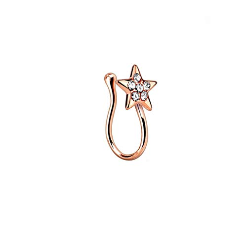 BodyJewelryOnline Fake Non-Piercing Nose Clip - Ion Plated Star with Clear CZ Gems - Sold Each (Rose Gold I.P.)