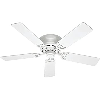 Hunter 53069 Low Profile III 52 Inch Ceiling Fan With Five White Blades,  White
